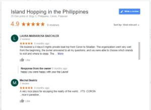 google-reviews island hopping
