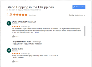 google-reviews island hopping