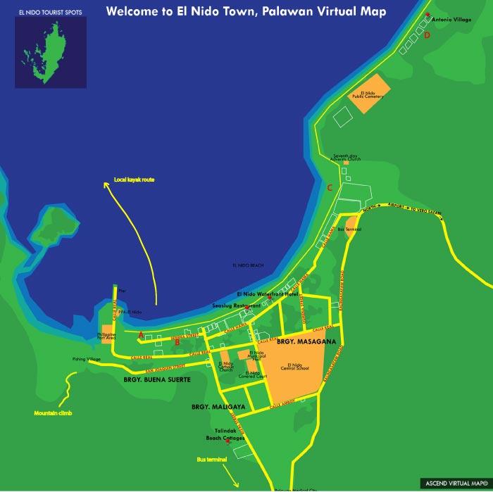Map of El Nido, Palawan, Philippines